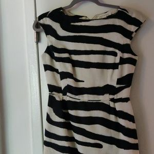 Linen Boat neck zebra print dress